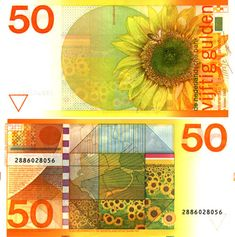 This former currency of The Netherlands was replaced by the euro on January Among the bills, whose loss the Dutch surely mourned, was this bright yellow sunflower-clad banknote, which was designed by Jaap Drupsteen in the