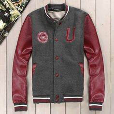 Men Letter U Leather Sleeve Dark Grey Varsity Baseball Jacket