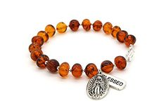 Genuine Amber Catholic Rosary Bracelet with Hail Mary Medal and Blessed Charm. ELEGANT LOOK - the amber bracelet looks very dainty and subtle. It's definitely a perfect match for formal occasions or everyday wear. HIGH QUALITY - the unique technology and precision ensures the best quality of each product. The jewelry gives an incredibly pleasant feeling - solid and smooth at the same time. NATURAL COLOR - Baltic amber bracelet in cognac color is a wonderful choice for all who adores the…