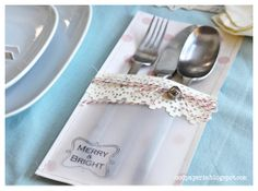 Silverware pockets using SVGCuts digital files from Mod Paperie Christmas Wishes, Christmas Crafts, Christmas Tree, Cutlery Holder, Arts And Crafts, Paper Crafts, Christmas Table Decorations, Merry And Bright, Svg Cuts