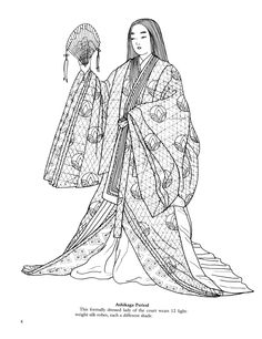 View topic - Paper dolls and coloring books [IMG HVY} Printable Coloring Pages, Colouring Pages, Adult Coloring Pages, Coloring Books, Heian Era, Heian Period, Paper Doll Costume, Paper Dolls, Japanese History
