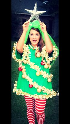 Here are ten creative and unique Christmas outfits that look amazing and will inspire your holiday festivities! Christmas Tree Costume, Tacky Christmas, All Things Christmas, Ugly Christmas Sweater, Christmas Crafts, Christmas Ideas, Xmas Costumes, Party Costumes, Christmas Clothes