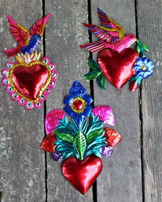 Mexican Tin Milagros - SOLD SEPERATELY - Peace Doves & Hearts and Flowers Amore