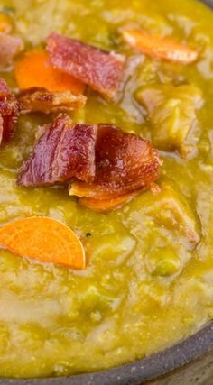 Slow Cooker Ham and Bacon Split Pea Soup ~ Warm, cozy and delicious