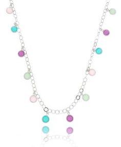 colar longo com pingentes cristais coloridos prata
