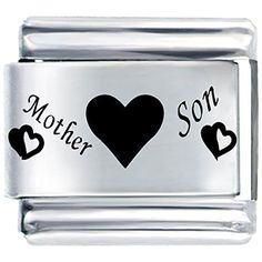 Mother Love Son Heart Italian Charms Fit Nomination Classic Bracelet by CharmSStory -- Awesome products selected by Anna Churchill