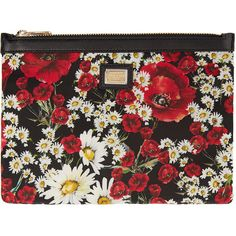 Dolce And Gabbana Red and Black Poppies Necessaire Pouch ($300) ❤ liked on Polyvore featuring bags, handbags, clutches, floral clutches, zip pouch, dolce&gabbana, poppy handbags and dolce gabbana handbag