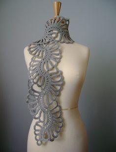 Crochet wool scarf