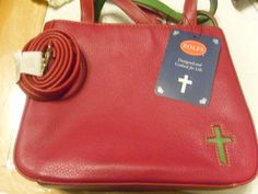 Purse HAND BAG POCKET BOOK ROLF'S GENUINE LEATHER CROSS ON FRONT NEW RED #ROLFS #MessengerCrossBody
