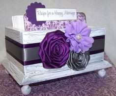 Bridal Shower Guest Box and Cards- Recipe for a Happy Marriage, Purple, Plum Lilac and Gray, Whtie Shabby chic box