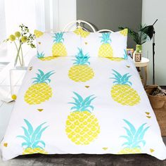 Pineapple Bedding Kawaii Duvet Cover 4 Piece Tropical Hawaiian Pineapple Print Pattern Duvet Cover Set for Boys Girls Adults. Yesterday's price: US $138.99 (113.93 EUR). Today's price: US $112.58 (92.21 EUR). Discount: 19%.