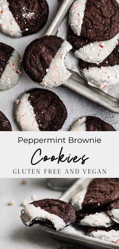 Vegan Dessert Recipes, Vegan Sweets, Gluten Free Desserts, Dairy Free Recipes, Holiday Desserts, Holiday Baking, Christmas Baking, Vegan Christmas Cookies, Christmas Brownies