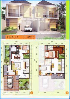 Denah Rumah Minimalis 2 Lantai Modern Type 45 90 Architecture In