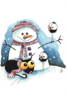 Original watercolor painting whimsical Stressie Cat snowman crow bird keep warm #IllustrationArt