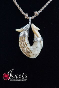 Janet's - Silver Whale Hook BRPW48, 149.00 AUD (http://www.janetssamoa.com/silver-whale-hook-brpw48/)      Whale Ivory Carved in to South Pacific Gill Fish Hook     Finished with fine Samoan Carvings and Motifs.     Afa (Coconut Husk) Holds Whale Bone     Adjustable string length for comfortable fit Or Use with Sterling silver chain for totally different look