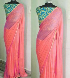 Pure Georgette saree with heavy embroidered unstitch blouse