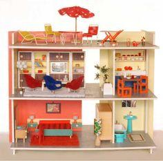 """""""Puppenhaus mit Dachgarten, von 2 Seiten bespielbar. Das Haus ist mit wenigen Handgriffen zusammenzulegen. VEDES-SONDERMODELL! - DM 59.-"""" (1967) Maße: 72 x 46 x 57cm"""