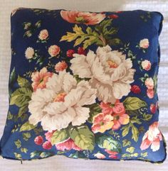 A personal favorite from my Etsy shop https://www.etsy.com/listing/248648395/navy-blue-floral-16-chintz-pillow