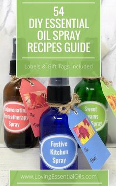 FREE Printable Recipe Guide - Homemade Essential Oil Sprays Made Easy. 54 DIY Recipes, complete with labels and gift tags. Check it out! #freeprintable #essentialoilrecipes #essentialoilguide