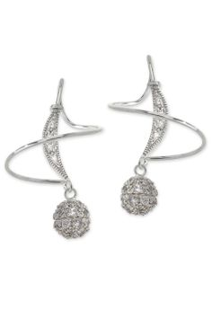 Orogem Zirconia Encrusted Bead Earspirals in Sterling Silver - Beyond the Rack