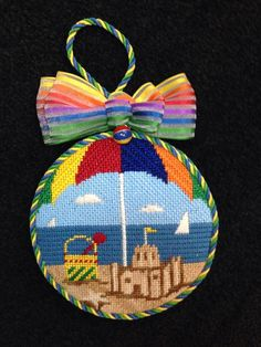 Box style finish on  needlepoint beach ornament for Nimble Needle, 2014
