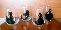 Set of 4 Disney Princess Silhouette Wine Glasses by SplashofLacey, $40.00 - Belle, Arial, Jasmine and Pocahauntas