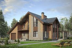 Проект жилой дом #57-00AL материал - газобетон, стиль современный Home Id, Interior Decorating Styles, Cabin Plans, Home Design Plans, Cabin Homes, Urban Design, Home Projects, Exterior Design, My House
