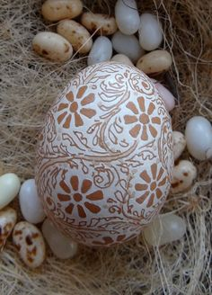 Items similar to Etched Brown Chicken Egg with Flower and Vine Design on Etsy