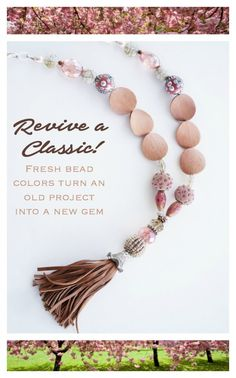 Necklace design inspiration featuring leather tassels and Jesse James Beads