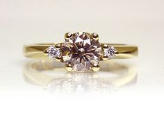 Chibnalls custom made Australian Fancy Champagne Diamond Engagement ring handcrafted in 18ct yellow gold.