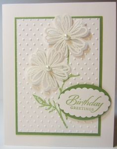 Handmade Embossed Daisy Card - Stampin Up by LGArtCardsnCreations on Etsy