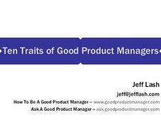 Ten Traits Of Good Product Managers