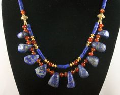 Lapis Multi Strand Necklace - Lapis, Carnelian, Gold Vermeil - Egyptian - Ancient Jewelry - African - Ethnic Jewelry - Statement Necklace