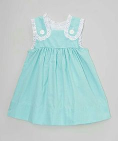 Another great find on Smock Candy Green Gingham Lace Button Dress - Infant, Toddler & Girls by Smock Candy Baby Girl Dress Patterns, Little Dresses, Little Girl Dresses, Toddler Dress, Toddler Outfits, Kids Outfits, Infant Toddler, Toddler Girls, Frocks For Girls