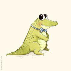 A ist für Alligator der süßeste und sehr höflich-Alligator, die Sie dort finden! Drucken einer original Aquarell Illustration von mir.  Meine Abzüge sind
