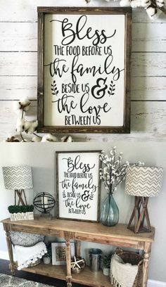 Bless the Food Before Us Wood Sign, Rustic Wood Sign, Framed Sign, Kitchen Sign, Dining Room Sign, Farmhouse Decor, Kitchen Decor  #ad