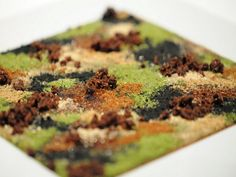 Camouflage (to get a spell) - Hare in the Woods - a dish of jugged hare liver and 14 other ingredients in form of powder that resembles an abstract painting - finger food - Chef Massimo Bottura