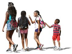 Four black children of different ages walking side by side