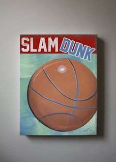 Sports Decor , Boy Room Decor ,Nursery Canvas Art ,  Basketball Wall Art, 12x16 Baby Boys Room  Art Print