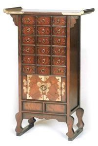Korean Antique Style 3 Drawer End Table Cabinet (Korea ...