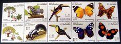 EL SALVADOR WILDLIFE STAMPS BLOCK OF 10 BUTTERFLIES BIRD FAUNA STAMPS FLORA