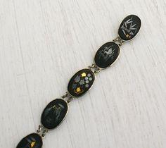 Vintage Damascene Asian Panel Kyoto Bracelet - Gold & Silver Inlay on Black Tile Japanese Jewelry / 8 Panels