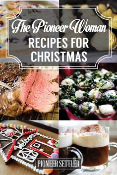 Planning your Christmas dinner menu? If you want to try something different this year, why not copy one or two of The Pioneer Woman recipes? These are the best appetizers, entrees, desserts, and drinks from The Pioneer Woman's cookbook. Christmas Dinner Menu, Christmas Cooking, Christmas Goodies, Christmas Desserts, Christmas Treats, Christmas Christmas, Christmas Dishes, Holiday Treats, Christmas Menu Ideas