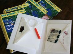 shrinky dink instructions and a magnifying glass