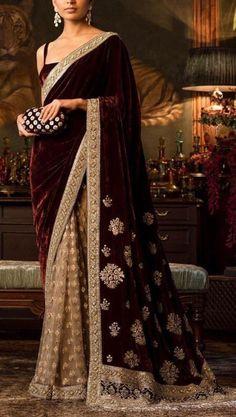 Maroon velvet designer saree Indian sari, half and half wine.- Maroon velvet designer saree Indian sari half and half wine Etsy - Pakistani Dresses, Indian Sarees, Indian Dresses, Indian Wedding Outfits, Indian Outfits, Indian Wedding Sari, Indian Designer Outfits, Designer Dresses, Designer Sarees Wedding