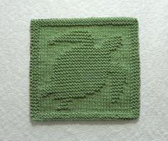 SEA TURTLE Knit Dishcloth or Wash Cloth Sage por AuntSusansCloset