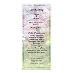 Designs by Susan Savad - Pink Spring Tree and Daffodils Wedding Program -- Spring wedding program that you can customized yourself.  #wedding  #weddingprogram #customize #floweringtree #floweringtrees #spring   $0.55  per card. BULK PRICING AVAILABLE!