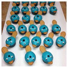 Perry het vogelbekdier cupcakes. Leuk voor kinderen. (van de televisieserie Phineas en Ferb)
