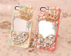 Love Crown pearls Mirrors DIY Phone Case Deco Den Kit & Free Phone Case