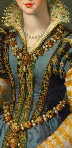 Detail of a Portrait of Maria de' Medici (1540-1557) or Eleonora di Garzia di Toledo (1553–1576), by Alessandro Allori.